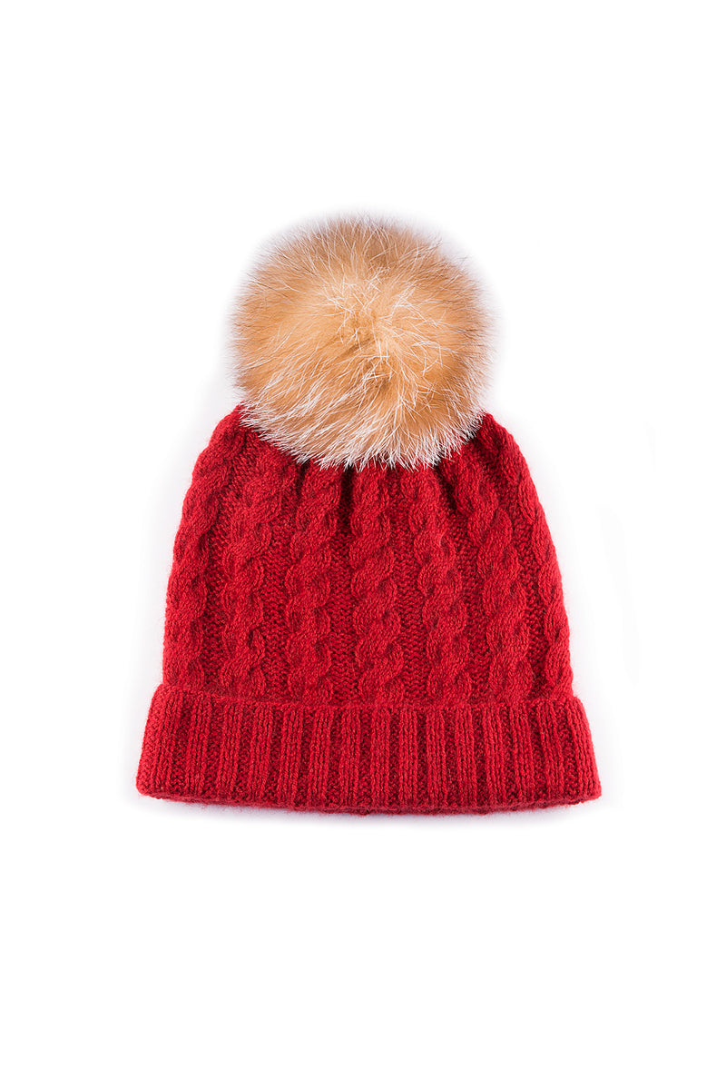 Crystal Fox fur pompom on Q Cable toque in red by Qiviuk Boutique