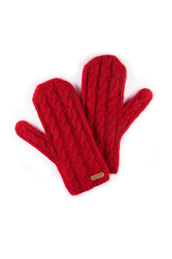 Qiviuk Cable mittens in red by Qiviuk Boutique