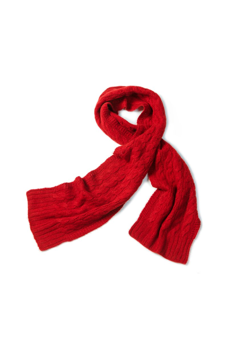 Qiviuk Cable scarf in red by Qiviuk Boutique
