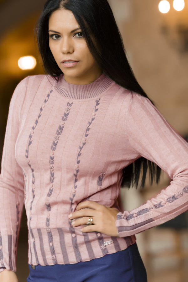 Ines Woman Pullover Bison, Merino & Silk in Pink by Qiviuk Boutique