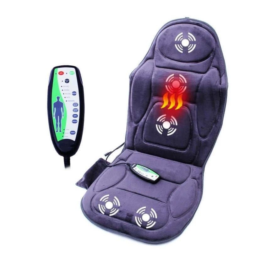 Massage Chair Seat Massager Heat Vibrate Cushion Back Neck Car Pain Relaxation