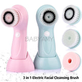 3 head / set of multi-function electric facial cleanser USB rechargeable face cleaning brush machine facial skin care tools blue
