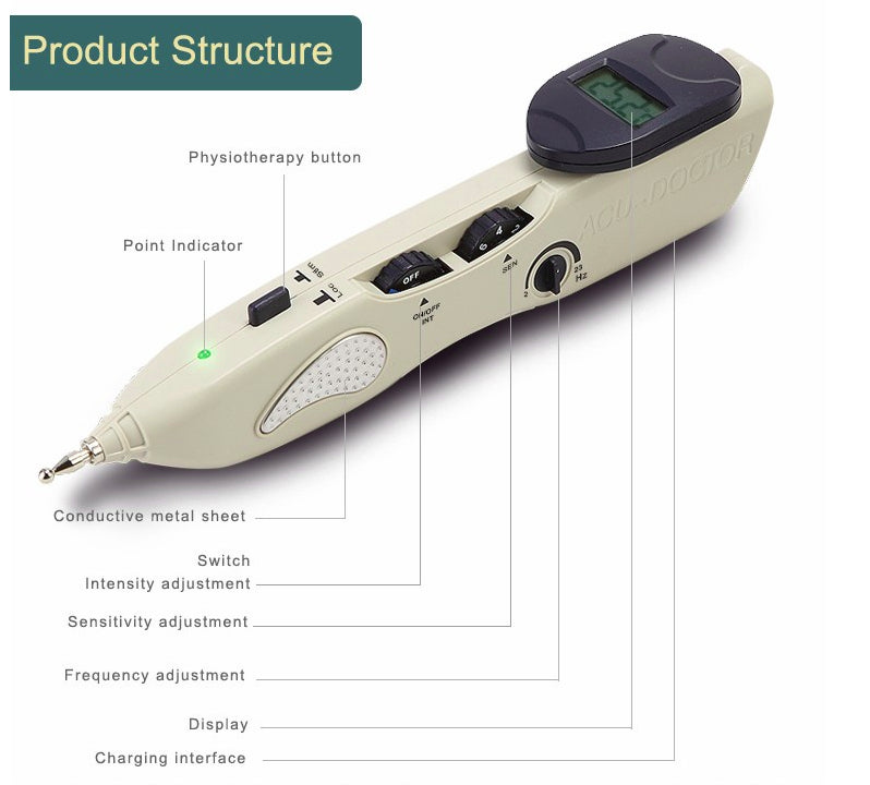Electric Acupuncture Therapy Pen Pain Relief LY-508B Rechargable Beep Tells Meridian, Electronic Massage Acupuncture Meridian Pen