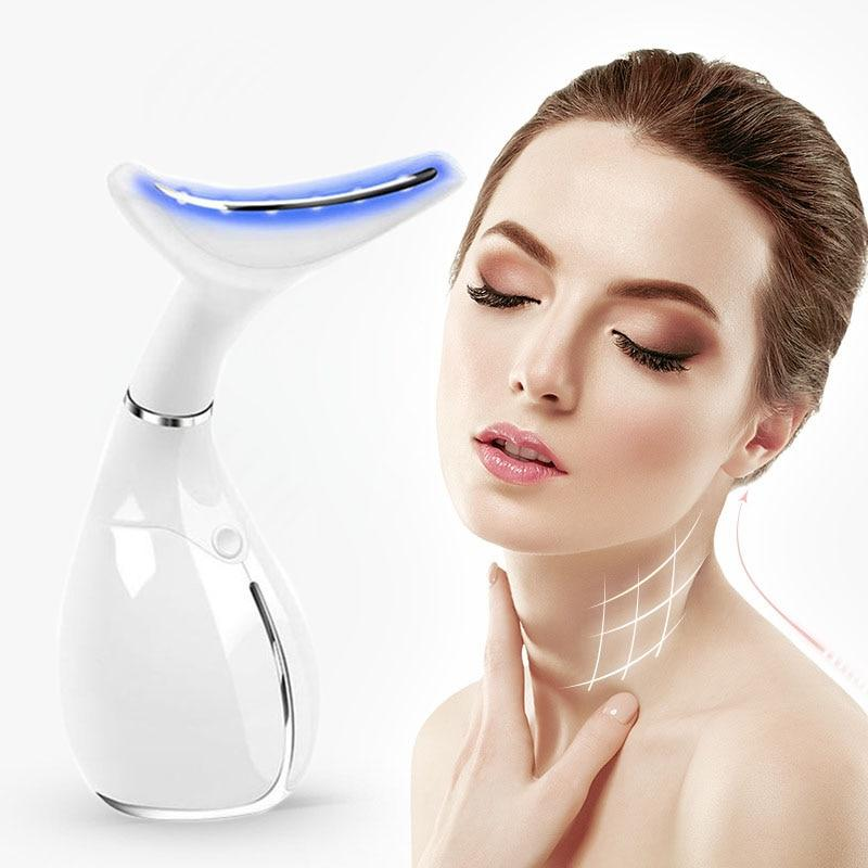 Neck Skin Care Beauty Instrument LED Photon Vibration Neck Lifting Skin Tighten Anti Wrinkle Remove Massager Device
