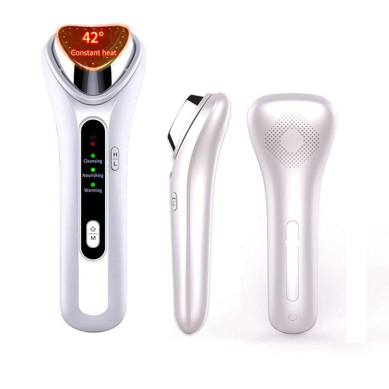 NEW Facial Warm Hot Therapy Massager Ultrasonic Face Lifting Ion Vibration Deep Clean Moisturize Wrinkle Removal Skin Tightening