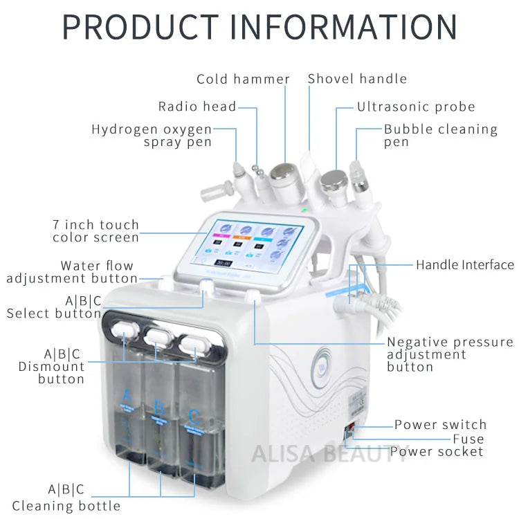 7 In 1 Water Oxygen Jet Peel Hydra Beauty spa Hydro Dermabrasion Hydra LED mask skin Rejuvenation Machine Water Aqua Peeling