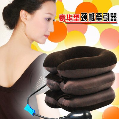 Cervical Neck Traction Device for Head & Shoulder Pain - Inflatable Neck Pillow / Cervical Traction Pillow Doctors Recommended