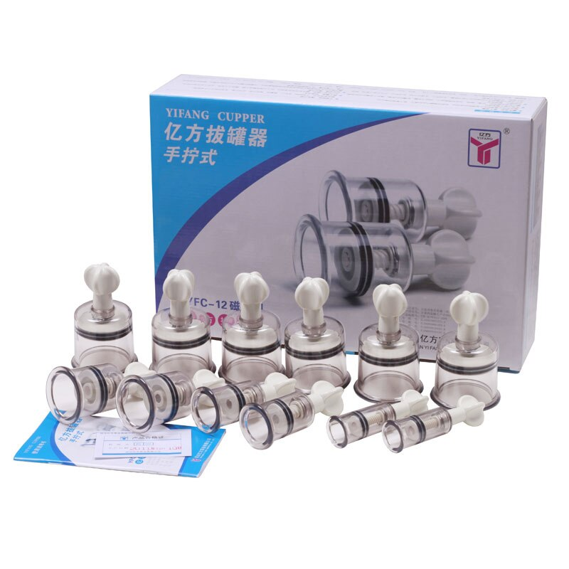 Portable 12 cups China Medical Vacuum Cupping Set Magnetic therapy Massage with Thickened Plastic