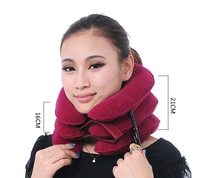 Full velvet neck traction device household medical inflatable collar cervical vertebra traction