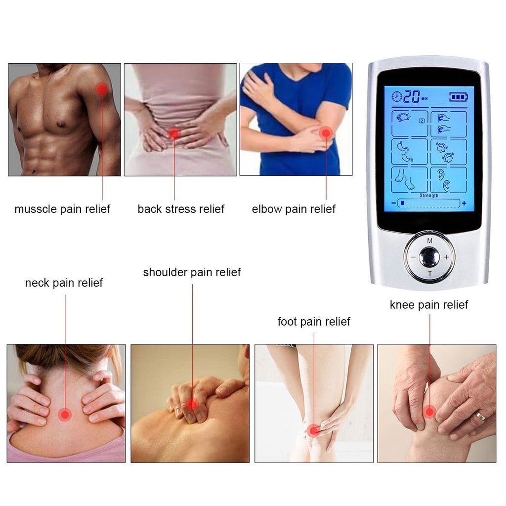 FDA Cleared 16 Modes TENS unit Rechargeable Pain Relief Machine Electric Pulse Impulse Body Massager
