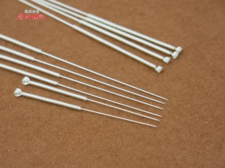 925 Sterling Silver Traditional Chinese Medicine Acupuncture Needle 10pcs/Set Size Choose Reusable Acupuncture Needle