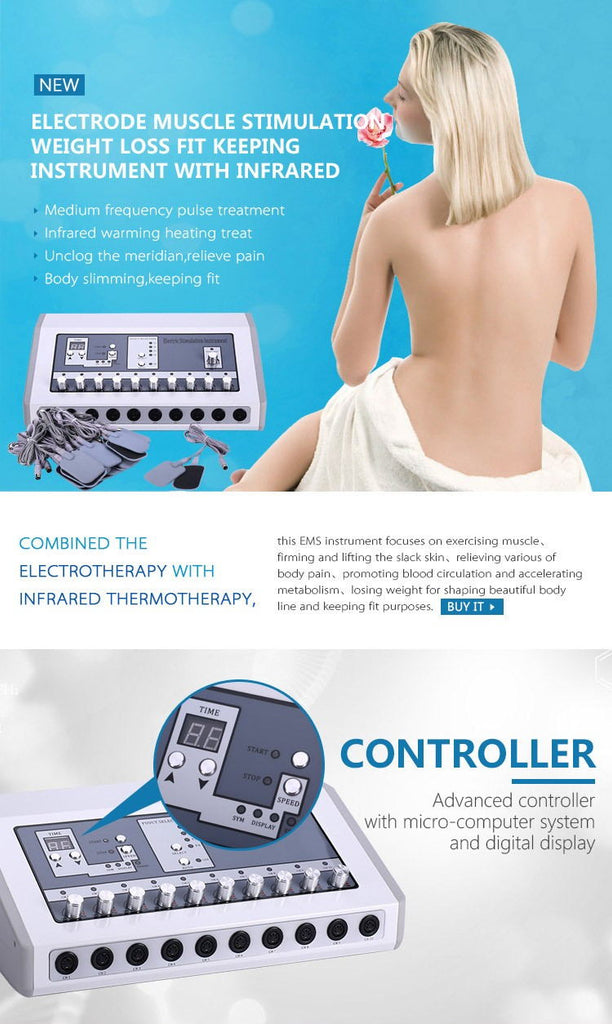 Tens Hot Machine Professional Far Infrared Heat Russian Wave Electric Muscle Stimulator EMS Machine Home And Salon Use