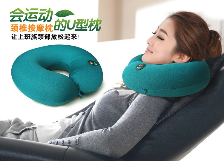 Car Neck Massager magnet magnetic Electric Nap Pillow Traction Massage U Shape Pillow Relief Neck Back Shoulder Pain Massager