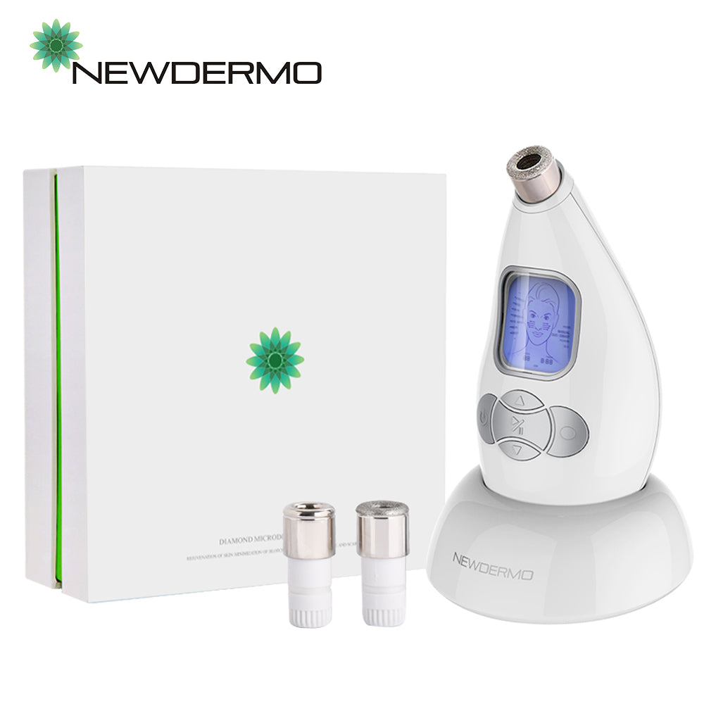 NEWDERMO Microderm Diamond Microdermabrasion Machine and Suction Tool - Clinical Micro Dermabrasion Kit for Tone Firm Skin, Advanced Home Facial Treatment System & Exfoliator For Bright Clear Skin