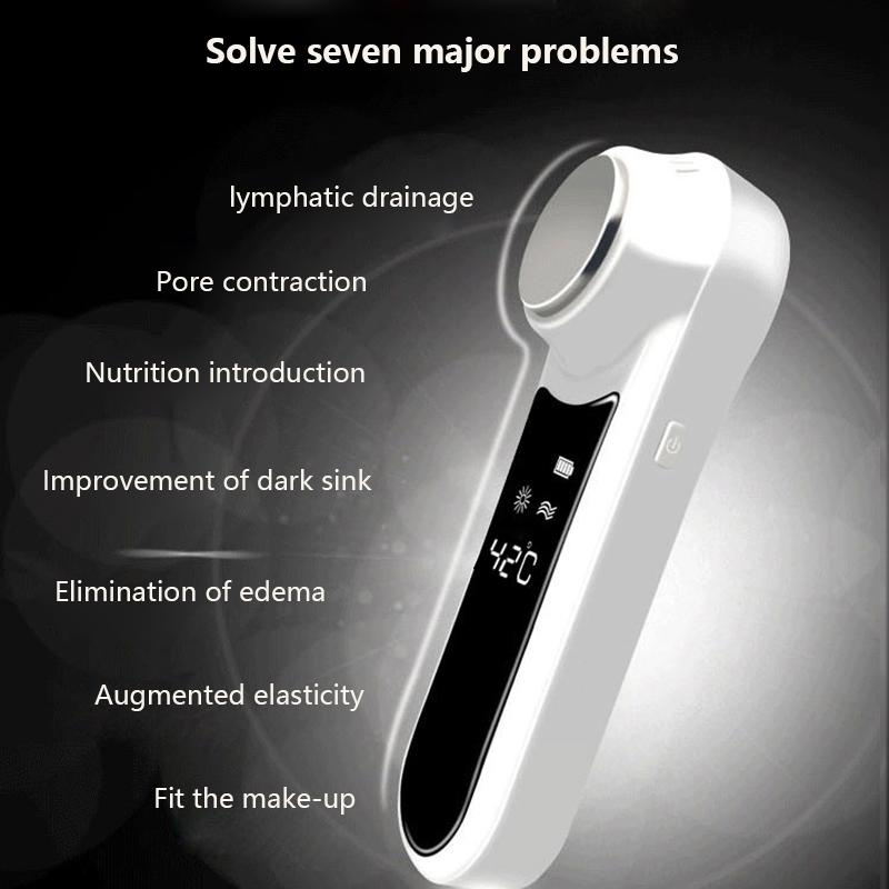 Ultrasonic Cryotherapy Hot Cold Hammer Face Lifting Skin Rejuvenation Facial Massager Ultrasound Firming Face Fast Shrink Pore