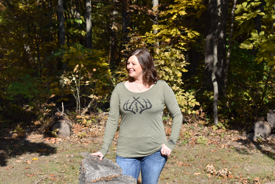 bb512c194c ... Load image into Gallery viewer, 217 Antlers Hunting Scoopneck Tee-Women'  ...