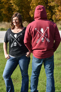 Women's Slouchy ILLINOIS Tee Arrows-Black Marble