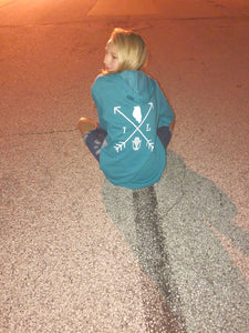 Cozy Hoodie-Illinois Arrows Heather Teal