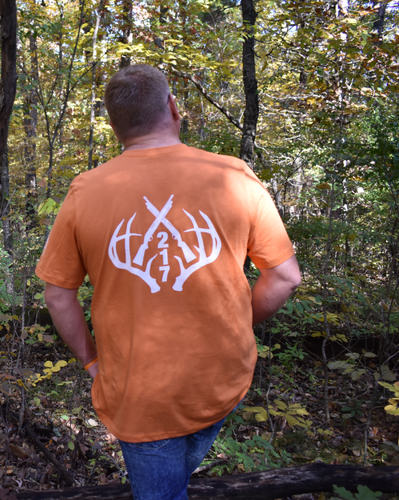 217 Antlers Hunting Tee-Burnt Orange