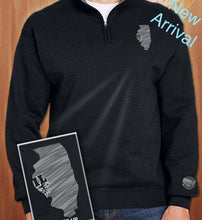 Load image into Gallery viewer, Black Classic Illinois Quarter-Zip Sweatshirt