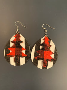 Christmas Tree Double Stacked Faux Leather Earrings