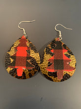 Load image into Gallery viewer, Christmas Tree Double Stacked Faux Leather Earrings