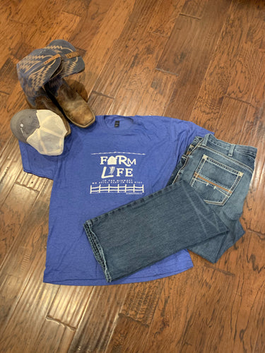Farm Life Unisex Tee - Heathered Blue
