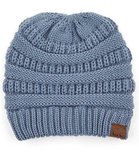 Cross-Crossed Ribbed Beanie Hat