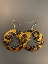 Load image into Gallery viewer, Christmas Tree Cut-out Circle Faux Leather Earrings