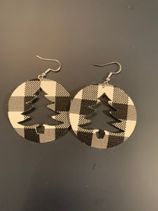 Christmas Tree Cut-out Circle Faux Leather Earrings
