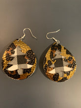 Load image into Gallery viewer, Christmas Tree Cut-out Double Stacked Faux Leather Earrings