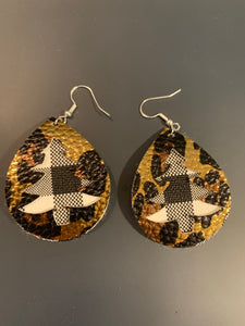 Christmas Tree Cut-out Double Stacked Faux Leather Earrings