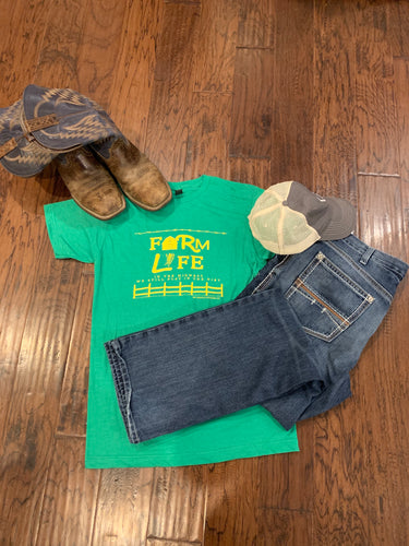Farm Life Unisex Tee - Heathered Green