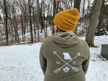 Load image into Gallery viewer, Cozy Hoodie- Missouri Arrows Military Green