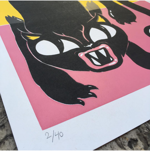 Crawling cat silkscreen print