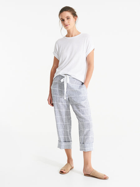 Brixton pants linen check