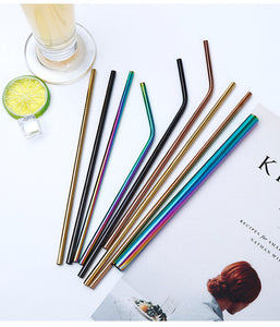 Blue Stainless Steel Straws