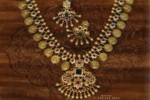 Indian Temple Jewelry Lordess Lakshmi Devi Antique Jewelry - kasumala kasuharam Lakshmi kasumala temple jewelry traditional jewelry Lordess