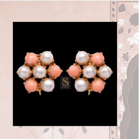 Indian Silver Jewelry,South Indian Jewellery,South Indian Jewelry,Coral Studs,indian Bridal jewellery Designs,Indian Wedding-NIHIRA-SHABURIS
