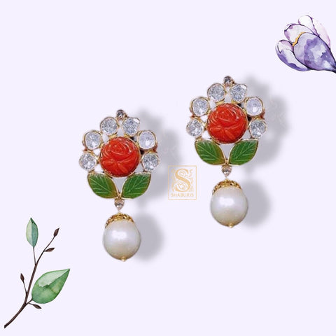 Latest Indian Jewelry,Pure Silver Jewellery Indian ,Coral stud,indian earrings,Indian Bridal,Indian Wedding Jewelry-NIHIRA-SHABURIS