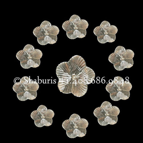 Pooja flowers in Silver,108 flowers in silver,pure silver return gift,astotharam flowers, gifts,indian gifts silver -NIHIRA-Set of 10
