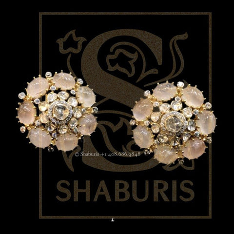 Latest Indian Jewelry,South Indian Jewelry,Pure silver Big Studs Indian,Indian Earrings,Stud Earring,Indian Wedding Jewelry -NIHIRA-SHABURIS