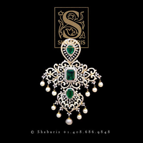 Latest Indian Jewelry,South Indian Jewellery,Pure silver diamond pendent,Swaroski Pendent,Indian Wedding Jewelry -NIHIRA-SHABURIS