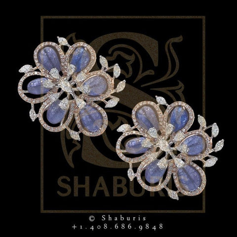 Jhumkas,Jhumki,Latest Indian Jewelry,South Indian Jewelry,Pure silver big Indian Studs, Earrings, Tanzanite studs-NIHIRA-SHABURIS