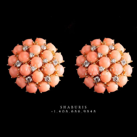 Coral studs,Swarovski Diamond Jhumka Jewelry Designs,South Indian Jewelry,stud Earrings,Jhumki,latest indian jewellery Designs -NIHIRA