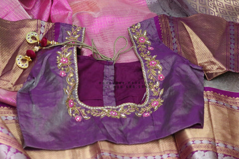 Lyte Weight Pattu Saree blouse -Pattu Blouse -Kuppadam Tissue Pattu Saree blouse - Saree Blouse - Pink Saree Blouse - Pink Blouse-Silk Saree