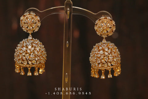 Diamond jhumka,big jhumka,swarovski,south sea pearl earring,party wear earrings,designer jewelry,hand picked jewelry,celebrity jewelry