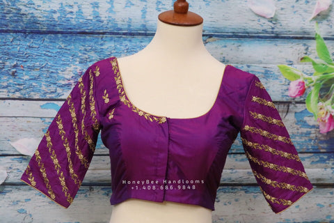 Maggam work designer blouse - Pattu Saree Blouse -Maggam work blouse - handloom Saree Blouse - purple Saree Blouse - purple Blouse