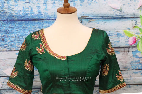 Maggam work designer blouse - Pattu Saree Blouse -kundan work blouse - handloom Saree Blouse - bottle green Saree Blouse - green  Blouse