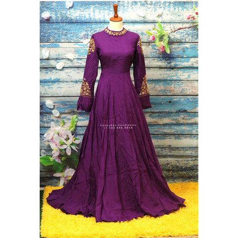 Indian Designer dress long frock,Indian Stitched Dress for women, zardhosi maggam work purple Dress ,Indian georgette teenager dress mehendi